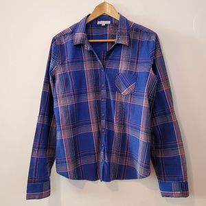Love, Fire Juniors Blue Plaid Button Up Shirt XL